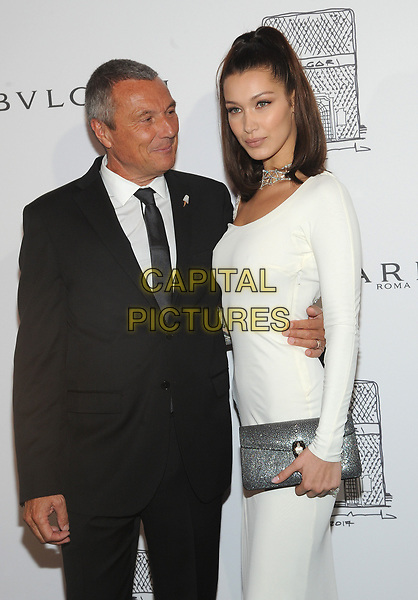 NEW YORK, NY - OCTOBER 19: Bella Hadid and Jean-Christophe Babin attends the re-opening of the  Bulgari flagship store on Fifth Avenue in New York City on October 20, 2017. <br /> CAP/MPI/JP<br /> &copy;JP/MPI/Capital Pictures