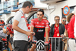 Alberto Contador (ESP) Trek-Segafredo chats with dignitaries before the start of Stage 18 of the 2017 La Vuelta, running 169km from Suances to Santo Toribio de Li&eacute;bana, Spain. 7th September 2017.<br /> Picture: Unipublic/&copy;photogomezsport | Cyclefile<br /> <br /> <br /> All photos usage must carry mandatory copyright credit (&copy; Cyclefile | Unipublic/&copy;photogomezsport)