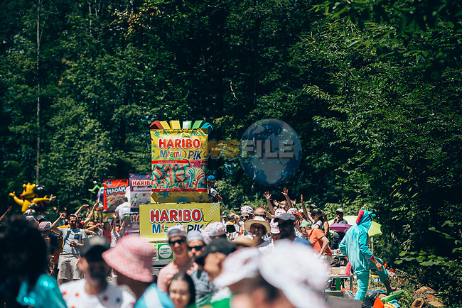 The publicity caravan passes by before the race during Stage 8 of the 2019 Tour de France running 200km from Macon to Saint-Etienne, France. 13th July 2019.<br /> Picture: ASO/Thomas Maheux | Cyclefile<br /> All photos usage must carry mandatory copyright credit (© Cyclefile | ASO/Thomas Maheux)