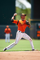 GCL Orioles shortstop Irving Ortega (1) throws to first during a game against the GCL Red Sox on August 16, 2016 at the Ed Smith Stadium in Sarasota, Florida.  GCL Red Sox defeated GCL Orioles 2-0.  (Mike Janes/Four Seam Images)