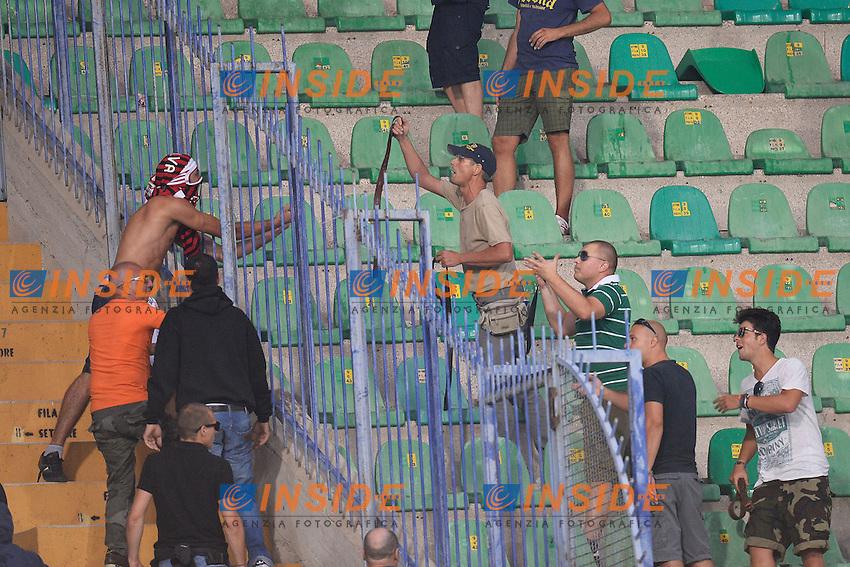 Scontri tra tifosi a fine partita <br /> Clashes between Milan and Verona supporters at the end of the match <br /> Verona 24/8/2013 Stadio Bentegodi<br /> Football Calcio Serie A<br /> Verona - Milan <br /> Foto Andrea Staccioli Insidefoto