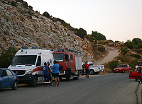Pictured: Emergency services in Ikaria, Greece. Wednesday 07 August 2019<br /> Re: Rescuers searching for  British scientist Natalie Christopher, 35, who disappeared on the  island of Ikaria, Greece have found her body at the bottom of a ravine.<br /> She was found less than a mile from the hotel in the Kerame area where she was on holiday with her Cypriot partner.<br /> Emergency service staff said that a large rock had dislodged as she fell, causing multiple head injuries.<br /> The woman's body will be kept overnight at the spot so a coroner can examine it on Thursday morning.