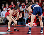 MADISON, WI - JANUARY 19: Collin Cudd of the Wisconsin Badgers wrestling team against the Penn State Nittany Lions at the Field House on January 19, 2007 in Madison, Wisconsin. The Badgers beat the Nittany Lions 17-16. (Photo by David Stluka)