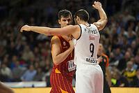 Real Madrid´s Felipe Reyes and Galatasaray´s Erceg during 2014-15 Euroleague Basketball match between Real Madrid and Galatasaray at Palacio de los Deportes stadium in Madrid, Spain. January 08, 2015. (ALTERPHOTOS/Luis Fernandez) /NortePhoto /NortePhoto.com