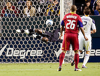 LA Galaxy goalkeeper Donovan Ricketts (1) makes a diving save. The LA Galaxy defeated Real Salt Lake 2-1 at Home Depot Center stadium in Carson, California on Saturday April 17, 2010.  .