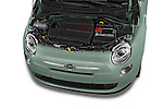 Car Stock 2015 Fiat 500 POP 3 Door Hatchback Engine high angle detail view