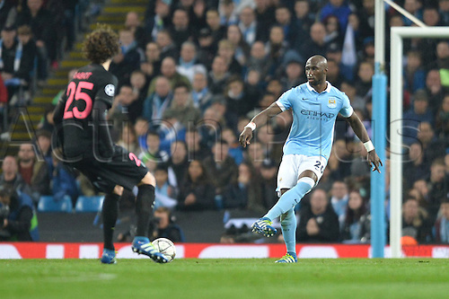 12.04.2016. manchester, England. UEFA Champions league, quarterfinals, second leg. Manchester City versus Paris St Germain.  ELIAQUIM MANGALA (man) clears his box