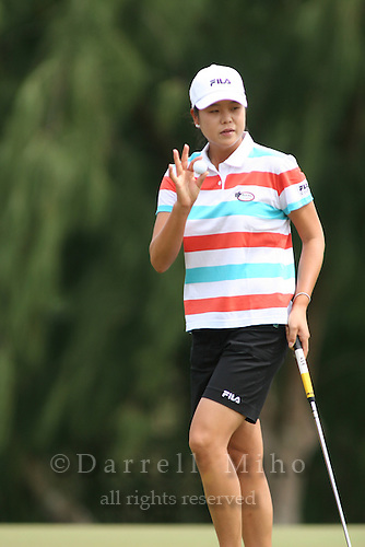 February 18, 2006; Kahuku, HI - Hee Won Han acknowledges the crowd during the final round of the LPGA SBS Open at Turtle Bay Resort...Mandatory photo credit: Darrell Miho.© Darrell Miho