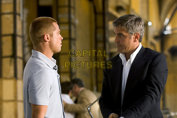 BRAD PITT & GEORGE CLOONEY.in Ocean's Twelve.*Editorial Use Only*.www.capitalpictures.com.sales@capitalpictures.com.Supplied by Capital Pictures.