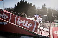European Champion Quinten Hermans (BEL/U23/Telenet-Fidea) leading teh U23 race from start to finish<br /> <br /> 2016 CX Superprestige Spa-Francorchamps (BEL)
