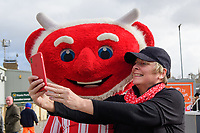Lincoln City mascot Poacher the Imp has a selfie taken outside the ground with a fan<br /> <br /> Photographer Chris Vaughan/CameraSport<br /> <br /> The EFL Sky Bet League Two - Lincoln City v Northampton Town - Saturday 9th February 2019 - Sincil Bank - Lincoln<br /> <br /> World Copyright &copy; 2019 CameraSport. All rights reserved. 43 Linden Ave. Countesthorpe. Leicester. England. LE8 5PG - Tel: +44 (0) 116 277 4147 - admin@camerasport.com - www.camerasport.com