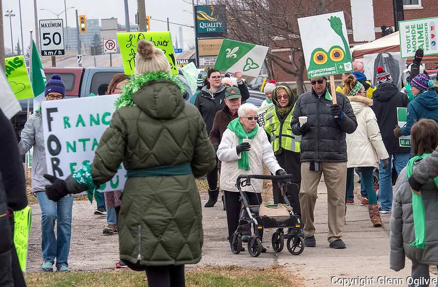 Centre Communautaire Francophone de Sarnia Lambton organized protest outside Sarnia Lambton MPP Bob Bailey's office, Saturday.