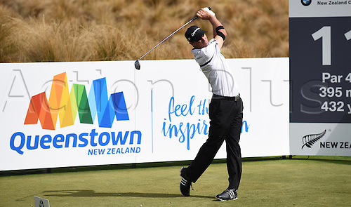 13.03.2016. Arrowtown, New Zealand.  New Zealand's Steven Alker during round 4 at The Hills during 2016 BMW ISPS Handa New Zealand Open. Sunday 13 March 2016.