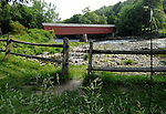 West Cornwall covered bridge 1841 Litchfield County Connecticut, West Cornwall covered bridge 1841 over the Housatonic River, Litchfield County Connecticut,  covered bridges, covered brige, West Cornwall Bridge is a two span Town Lattice and Queenpost Truss 242 feet, West Cornwall covered bridge with its red spruce timbers secured by a pair of treenails, New England States, six-state region, Northeastern corner of United States, bordered by Atlantic Ocean, Canada and New York, Connecticut Massachusetts Rhode Island Maine New Hampshire Vermont, thriving tourist industry, Main New Hampshire, Pilgrims from the Kingdom of England, New World, colonies,
