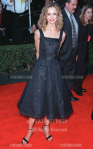"07MAR99: Actress CALISTA FLOCKHART at the Screen Actors Guild Awards where her show ""Ally McBeal"" won Best Ensemble Performance in a Comedy TV Series..© Paul Smith / Featureflash"