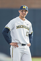 Michigan Wolverines third baseman Drew Lugbauer (17) before the NCAA baseball game against the Michigan State Spartans on April 18, 2017 at Ray Fisher Stadium in Ann Arbor, Michigan. Michigan defeated Michigan State 12-4. (Andrew Woolley/Four Seam Images)