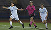 Warren Sanger #13 of Port Washington, left, and teammates celebrate after their 1-0 win over Massapequa in the Nassau County varsity boys soccer Class AA final at Mitchel Athletic Complex in Uniondale on Wednesday, Oct. 31, 2018.