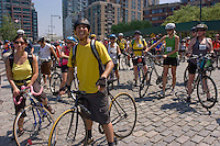 Hunters Point New York - 8 June 2008 - Tour de Queens bicycle tour pauses at Gantry Plaza