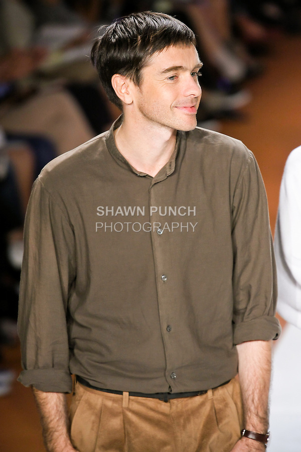 Fashion designer Christopher Lemaire, walks the runway at the close of the Lacoste Spring Summer 2011 runway fashion show, during Mercedes-Benz Fashion Week, September 11, 2010.