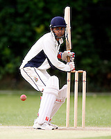 B Patel bats for Hornsey during the Middlesex County League Division two game between Shepherds Bush and Hornsey at Bromyard Avenue, East Acton on Sat July 23, 2011