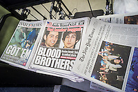 Newspapers at a newsstand in New York on Saturday, April 20, 2013 report on the capture of 19 year-old Dzhokhar Tsarnaev and the shooting of his brother 26 year-old Tamerlan Tsarnaev, the alleged Islamic terrorists in the bombing at the finish line of the Boston Marathon on April 15. (© Richard B. Levine)