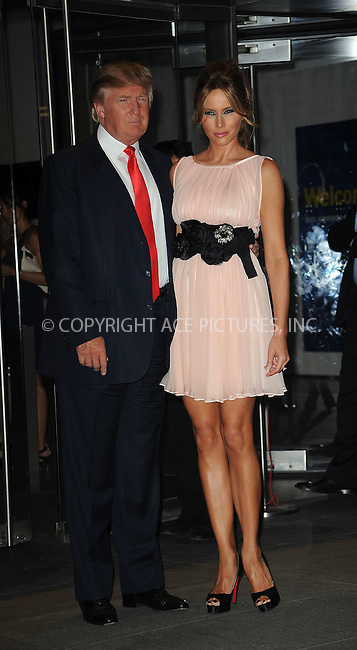WWW.ACEPIXS.COM . . . . . ....August 19 2009, New York City....Donald Trump and Melania Trump arriving at the New York screening of 'The September Issue' at The Museum of Modern Art on August 19, 2009 in New York City....Please byline: KRISTIN CALLAHAN - ACEPIXS.COM.. . . . . . ..Ace Pictures, Inc:  ..tel: (212) 243 8787 or (646) 769 0430..e-mail: info@acepixs.com..web: http://www.acepixs.com