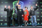 """(L-R) British actor Ian McDiarmid, Japanese cosplayer Nekomu Otogi, Apple co-founder Steve Wozniak, Japanese actress Mika Mifune, British actor Ray Park attend a press conference to unveil the """"Tokyo Comic Con 2016"""" in Tokyo, Japan, on December 4, 2015. The inaugural Tokyo Comic Con will take place at the Mukahari Messe Convention Center from December 3-4, 2016. (Photo by AFLO)"""