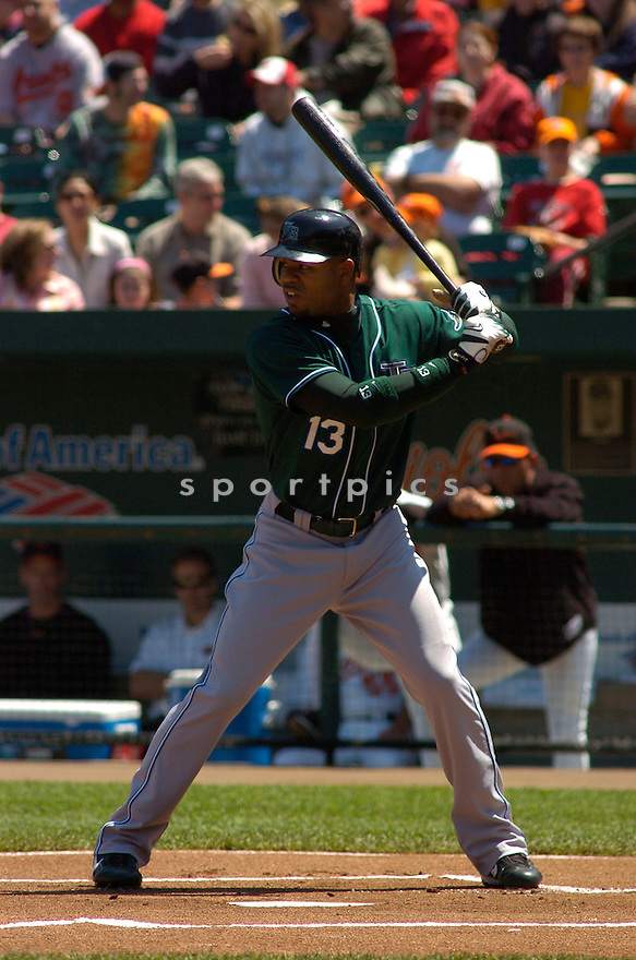 Carl Crawford in action during the Tampa Bay Devil Rays v. Baltimore Orioles game on May 1, 2005.....Devil Rays lost 4-7.....Chris Bernacchi/Sportpics..