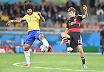 Dante (BRA), Thomas Muller (GER),<br /> JULY 8, 2014 - Football / Soccer :<br /> FIFA World Cup Brazil 2014 Semi-finals match between Brazil 1-7 Germany at Estadio Mineirao in Belo Horizonte, Brazil. (Photo by SONG Seak-In/AFLO)
