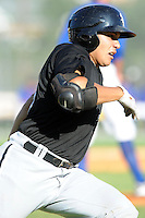 Bristol White Sox catcher Jose Barraza #29 runs to first during a game against the Kingsport Mets at Hunter Wright Stadium on July 28, 2012 in Kingsport, Tennessee. The Mets defeated the White Sox 9-5. (Tony Farlow/Four Seam Images).