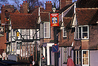 Main street of small town, Speldhurst, in rural Kent, south of London, England, UK