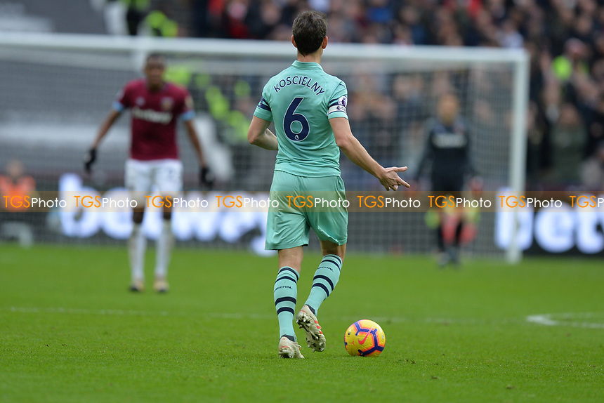 Laurent Koscielny of Arsenal during West Ham United vs Arsenal, Premier League Football at The London Stadium on 12th January 2019