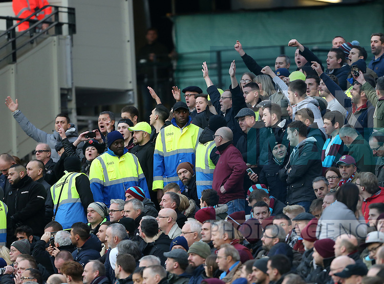 Stewards argue with West Ham's fans who continue to stand during the Premier League match at the London Stadium, London. Picture date November 5th, 2016 Pic David Klein/Sportimage