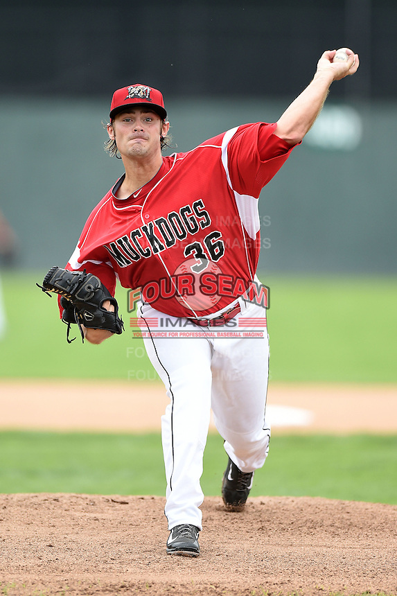 Batavia Muckdogs pitcher Ben Holmes (36) delivers a warmup pitch during the first game of a doubleheader against the Connecticut Tigers on July 20, 2014 at Dwyer Stadium in Batavia, New York.  Connecticut defeated Batavia 5-3.  (Mike Janes/Four Seam Images)