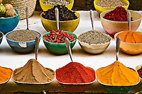 Various colorful spices for sale at bazaar in Luxor, Egypt