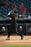 Ethan Paul (10) of the Vanderbilt Commodores follows through on his swing against the Sam Houston State Bearkats in game one of the 2018 Shriners Hospitals for Children College Classic at Minute Maid Park on March 2, 2018 in Houston, Texas. The Bearkats walked-off the Commodores 7-6 in 10 innings.   (Brian Westerholt/Four Seam Images)