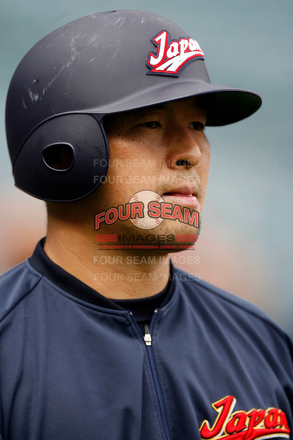 Nobuhiko Matsunaka of Japan during World Baseball Championship at Angel Stadium in Anaheim,California on March 12, 2006. Photo by Larry Goren/Four Seam Images