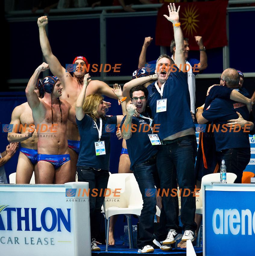 Eindhoven , Netherlands (NED) 23/1/2012.LEN European  Water Polo Championships 2012.Day 08 - Men.Macedonia (White) - Netherlands (Blue)..MKD.1 PERCINIC Dalibor.2 RACUNICA Igor.3 VUKSANOVIC Ivan.4 MISIC Sasa.5 KALINIC Uros.6 KRECKOVIC Vladimir.7 IVOVIC Blagoje.8 DIMOVSKI Dimitar.9 RANDZIC Miroslav.10 PETROVIC Milan.11 LETICA Boris.12 BENIC Danijel.13 MILANOVIC Igor..NED.1 STIL Jordy.2 de BRUIJN Matthijs.3 KRAMER Tjerk.4 GERRITSE Willem Wouter.5 GIELEN Luuk.6 LINDHOUT Robin.7 GOTTEMAKER Lars.8 FRAUENFELDER Yoran.9 VERWEIJ Paul.10 SPIJKER Roeland.11 LUCAS Thomas.12 LUCAS Matthijs.13 STEGMAN Clement..Photo Insidefoto / Giorgio Scala