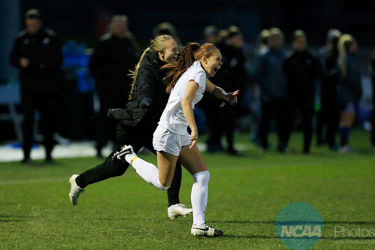 KANSAS CITY, MO - DECEMBER 03:  Lindsey Fujiwara (5) of Western Washington University celebrates after their victory over Grand Valley State University during the Division II Women's Soccer Championship held at Children's Mercy Victory Field at Swope Soccer Village on December 03, 2016 in Kansas City, Missouri. Western Washington University beat Grand Valley State University 3-2 to win the national title.  (Photo by Jack Dempsey/NCAA Photos via Getty Images)