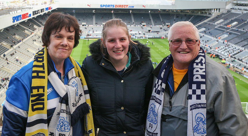 Preston North End fans take their seats before the game<br /> <br /> Photographer Alex Dodd/CameraSport<br /> <br /> The EFL Sky Bet Championship - Newcastle United v Preston North End - Monday 24th April 2017 - St James' Park - Newcastle<br /> <br /> World Copyright &copy; 2017 CameraSport. All rights reserved. 43 Linden Ave. Countesthorpe. Leicester. England. LE8 5PG - Tel: +44 (0) 116 277 4147 - admin@camerasport.com - www.camerasport.com