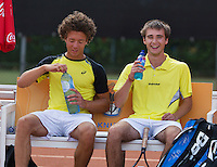 August 9, 2014, Netherlands, Rotterdam, TV Victoria, Tennis, National Junior Championships, NJK,  Final boys 18 years doubles: Casper Bonapart (L)and Guy den Heijer    (NED)<br /> Photo: Tennisimages/Henk Koster