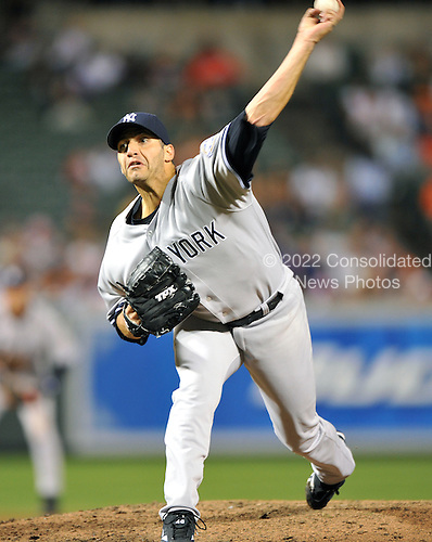 Baltimore, MD - August 31, 2009 -- New York Yankees pitcher Andy Pettitte (46) in eighth inning action against the Baltimore Orioles at Oriole Park at Camden Yards in Baltimore, MD on Monday, August 31, 2009.  The Yankees won the game 5 - 1..Credit: Ron Sachs / CNP.(RESTRICTION: NO New York or New Jersey Newspapers or newspapers within a 75 mile radius of New York City)