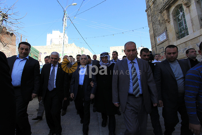 Palestinian Prime Minister Salam Fayyad attends the Friday prayers at the Haram Ibrahimi in The West Bank city of Hebron on January 18, 2013. Photo by Mustafa Abu Dayeh