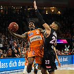 13.04.2019, ratiopharm arena, Neu-Ulm, GER, BBL, rathiopharm ulm vs s.Oliver W&uuml;rzburg / Wuerzburg, <br /> im Bild Patrick Miller (Ulm, #2), Devin Oliver (Wuerzburg, #23)<br /> <br /> Foto &copy; nordphoto / Hafner