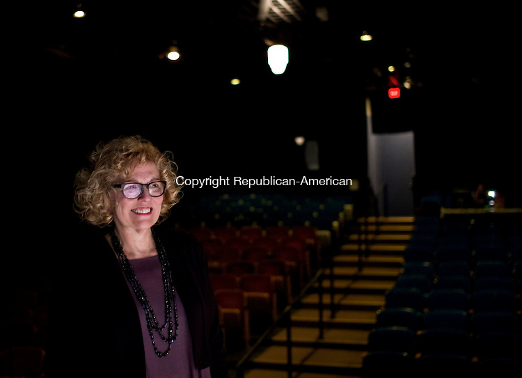 """Waterbury, CT- 12 January 2016-011216CM10- Elizabeth Petruccione, watches as April Woodall, rehearses a scene from """"Born Fat"""" at the at Seven Angels Theatre in Waterbury on Tuesday. Woodall will play Petruccione, a show that is written by Jacques Lamarre and directed by Steve Ginsburg.  Christopher Massa Republican-American"""