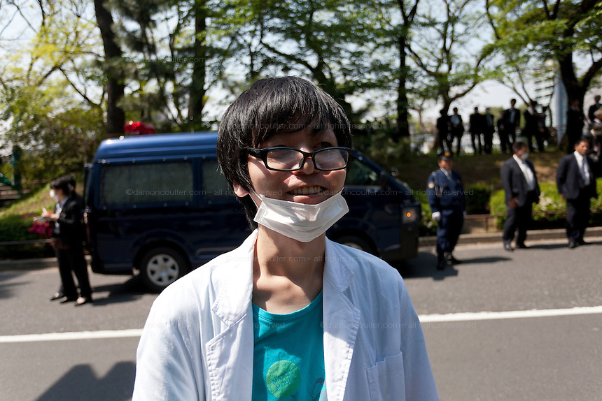 Makoto Masui protesting at a Zengakuren student union demo at Hosei University Campus. Ichigaya, Tokyo, Japan. Friday April 25th 2014