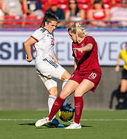 FRISCO, TX - MARCH 11: Andrea Pereira #20 of Spain fights for the ball with Alessia Russo #19 of England during a game between England and Spain at Toyota Stadium on March 11, 2020 in Frisco, Texas.