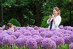 Boston Public Garden. Allium garden with people