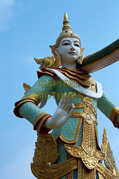 Ornate colourful statue, Wat Phra That Suton Mong Konkiree Temple, Denchai District, Phrae Province, Thailand