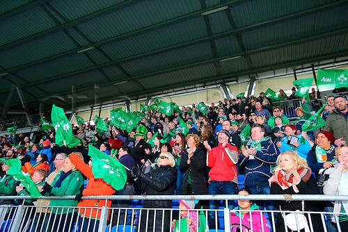 20.03.2016. Donnybrook, Dublin, Ireland. RBS Womens Six Nations Championships. Ireland versus Scotland.<br /> Irish fans celebrate the home win.
